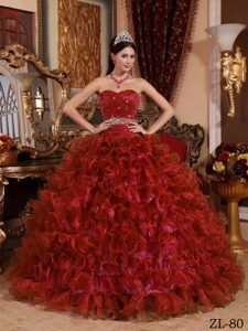 64ee68af5f6 Buy righteous red ball gown sweetheart beading sweet 16 dresses in organza  from beautiful quinceanera gowns collection