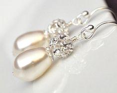 Pendientes largos perlas de Marfil de Dama por DaisyBeadzJoaillerie