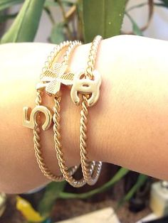 Chanel Set of Brush Gold Bangles Bracelets