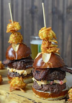 Burger Month: Poblano and Pimento Cheese Sliders with Home Cured Bacon