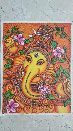 Birthday drawing ideas art canvas paintings 25 Ideas for 2019 Lord Ganesha Paintings, Ganesha Art, Krishna Painting, Pichwai Paintings, Indian Art Paintings, Modern Art Paintings, Kerala Mural Painting, Art Painting Gallery, Madhubani Art