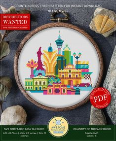 This is modern cross-stitch pattern of Macau for instant download. A cool tip to decorate your living room. You will get 5-pages PDF file, which includes: - main picture for your reference; - colorful scheme for cross-stitch; - list of DMC thread colors (instruction and key