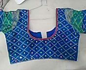 beautiful mirror work hand embroidery blouse