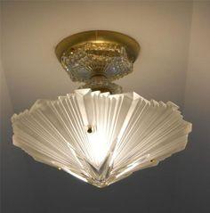 C 30's Vintage Art Deco Ceiling Light Fixture Chandelier American Antique Lamp   eBay