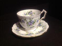 Vintage Aynsley Tea Cup Fine Bone China England Marine Rose White Blue Roses