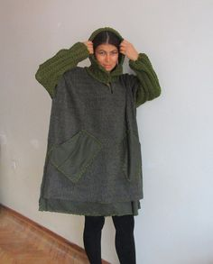 Outerwear Wool Coat  Poncho Olive Green Cape Coat  Hooded by aysev