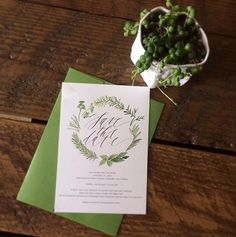Beautiful herb wreath save the date