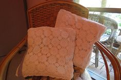 Pair of Crochet Cushion Covers by LouisaAmeliaJane on Etsy, $24.00 Crochet Cushion Cover, Crochet Cushions, Cushion Covers, Pairs, Throw Pillows, Etsy, Wedding, Mariage, Cushions