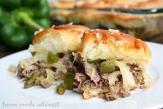Philly Cheesesteak Sliders - Home.-These Philly Cheesesteak sliders are easy to make and disappear fast! They are perfect for your next game day party! Beef Recipes, Snack Recipes, Cooking Recipes, Snacks, Dinner Recipes, Shredded Beef Sandwiches, Philly Cheese Steak Sliders, Beef Sliders