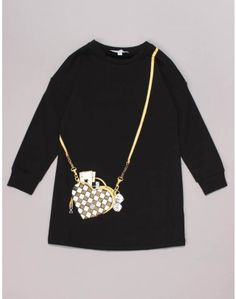 The black tunic dress for ages yrs features a 'gold and white chequered heart shaped bag' print to the front. Black Tunic Dress, Winter Essentials, Jacob Black, Printed Bags, Junior Outfits, Heart Shapes, Marc Jacobs, Jumper, Purses