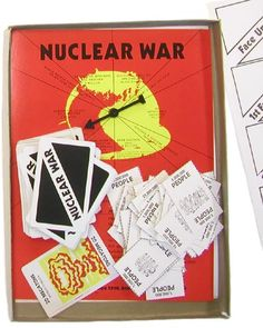 'Nuclear War' Game, 1965. It describes itself as a 'comical cataclysmic card game of global destruction'. The game is played as follows: 'Two to six players engage in touchy negotiations until a warmonger pushes the button!' The game ends when only one, or no, country is populated. (Everyone's a winner!)