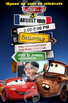 BESTSELLING Cars Invitation  Cars Lightning by ThePartyKreations, $10.00