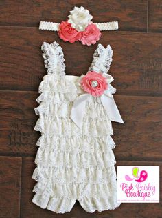 Cake Smash Outfit. Baby girl 1st birthday outfit, 1st Birthday Party. Petti Lace Romper Ruffle Rompers Ivory petti lace romper and headband 3 pc by Pinkpaisleybowtique, $34.99