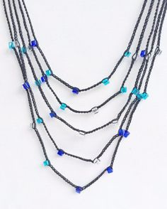 Black and blue layers crochet necklace by GabyCrochetCrafts