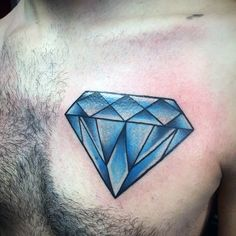Blue Diamond Male Traditional Chest Tattoos