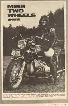 """""""Miss Two Wheels""""... a monthly feature in an Australian biker magazine. This 1970s issue featured Linda Botherstone on her 750cc BMW."""