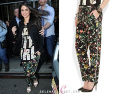 Selena Gomez stepped out in style in NYC today wearing a pair of 3.1 Phillip Lim Botanical-Print Pajama Style Pants. These pants are currently on sale courtesy of NeimanMarcus.com for $450.00.  Buy them HERE  Check out this look walking the runway in the 3.1 Phillip Lim Spring 2013 fashion show!  Thanks Lauren!  She's also wearing a 3.1 Phillip Lim top and Bionda Castana sandals.
