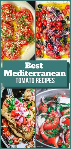 What do you make with tomatoes? This list of AMAZING and easy fresh tomato recipes w/ big Mediterranean flavors is all you need! Tips included. Vegetarian Recipes Easy, Good Healthy Recipes, Clean Eating Recipes, Easy Dinner Recipes, Easy Mediterranean Recipes, Mediterranean Dishes, Greek Chicken Recipes, Fish Recipes, Healthy Meals For Kids