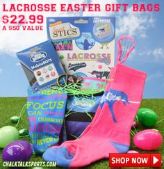 Lacrosse Girl Easter Gift Bag from chalktalksports.com filled with lax goodies!