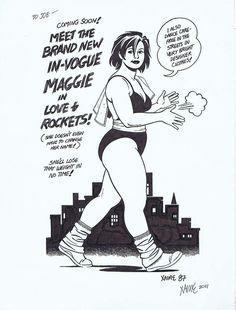 Love and Rockets ad, original art by Jaime Hernandez Comics Illustration, Illustrations, Character Concept, Character Art, Character Design, Catfight Wrestling, Comic Book Drawing, Love And Rockets, Jordi Bernet