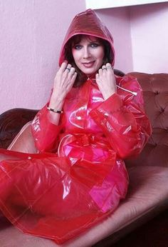Lorraine Ward in a Red plastic mack Red Raincoat, Vinyl Raincoat, Hooded Raincoat, Lorraine, Tweed Jacket, Leather Jacket, Girls Wear, Women Wear, Plastic Pants
