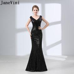 916ecca0 JaneVini Luxury Black Sequin Evening Dress Ladies Woman Long Dress Elegant Evening  Gown Mermaid Prom Dress