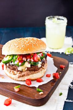 A juicy Tex Mex-inspired burger with refried beans, Monterrey Jack, chipotle ranch dressing, and pico de gallo.