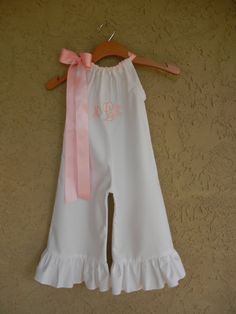 Monogrammed White Pillowcase Romper - sizes 3m - 3T...Capris or Pants....PERFECT for SPRING and SUMMER. $40.00, via Etsy.