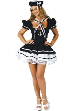 2016 Hot New Arrival Sailor Costume Women Uniform Dress +Hat For Halloween Carnival Costumes For Women Party Fancy Dress Costume