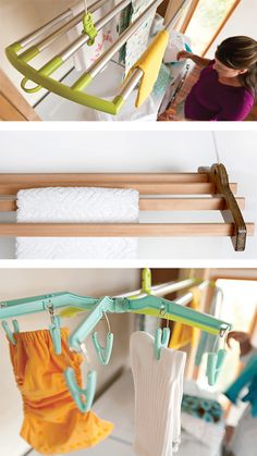 Designed to hold an entire load of laundry, LOFTi is a clothes-drying rack that suspends from the ceiling by an easy-to-use pulley system.