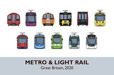 The faces of vehicles from all 11 Metro/Light Rail systems in Great Britain. Framed Prints, Canvas Prints, Art Prints, Train Drawing, Light Rail, Great Britain, Art Boards, My Arts, Faces
