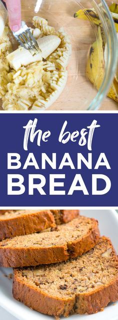 Easy, Homemade Banana Bread Recipe -- This is the best banana bread recipe with ripe bananas, flour, butter, eggs and spices. This one is so good, you'll want to make 2 loaves! #bananabread #banana #recipe #baking #bread