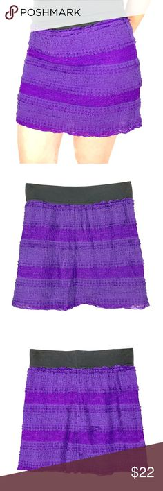 "Free People purple ruffle skirt Size small. EUC. Rayon, cotton, nylon, spandex blend. Elastic waist, 25"" lying flat. Tiers of ruffles throughout. Free People Skirts Circle & Skater"