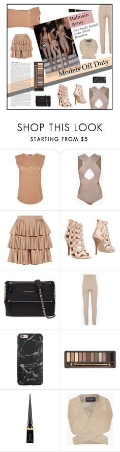 """Off Duty Models - Balmain Army"" by dlmusiel ❤ liked on Polyvore featuring Balmain, Givenchy, Urban Decay and Christian Louboutin"