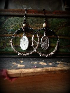 Rustic gypsy dangle earrings with silk wrapped hoops by quisnam, $35.00