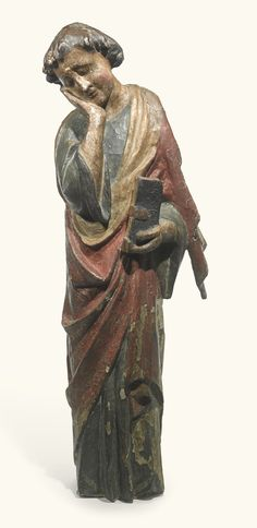 French, 13th century SAINT JOHN THE EVANGELIST FROM A CALVARY GROUP polychromed limewood