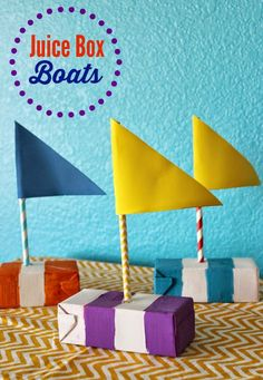 Juice Box Boats Kids' Summer Craft. These simple, colorful Juice Box Boats are sure to get kids excited to create and make water time even more fun! The kiddos can even use them to have boat races in the pool or bath tub!