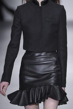 Short jacket & leather frill skirt, all black fashion details // David Koma Fall 2015