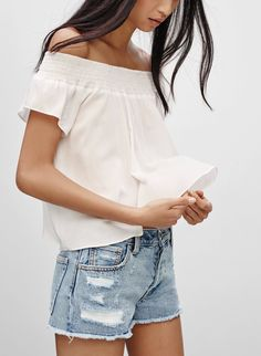 Talula CABRINI BLOUSE | Aritzia Life Is Beautiful, Off Shoulder Blouse, Ruffles, Summer Outfits, Dressing, Ruffle Blouse, Lace Up, Classy, V Neck