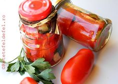 Romanian Food, Romanian Recipes, Preserves, Conservation, Pickles, Frozen, Food And Drink, Stuffed Peppers, Homemade