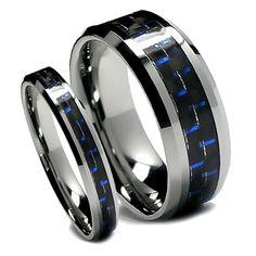 Matching Tungsten Wedding Band Set, Black and Blue Carbon Fiber - Datora Jewelry