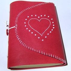 Red Leather Journal with Heart Detail - Lizzie Z, starstruckbooks.