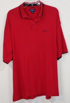 Nautica Golf Mens Red Soft Smooth 100% Cotton Short Sleeve Polo Shirt XL #Nautica #PoloRugby