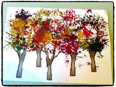 peindre une foret en automne, arbre, peinture à la brosse, bricolage enfant