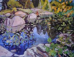 Lily Pond, Georgian Bay by Arthur Lismer - Group of Seven Canadian Painters, Canadian Artists, David Milne, Ontario, Group Of Seven Artists, Franklin Carmichael, Tom Thomson Paintings, Emily Carr, Lily Pond
