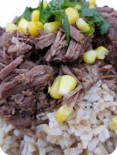 Slow Cooker Chipotle Barbacoa Beef 3 lbs beef eye of round or bottom round roast fat trimmed cut into 4 inch chunks 5 cloves garlic ½ medium onion ½ lime, juice 2-4 chiptoles in adobo sauce (to taste) 1 tbsp ground cumin 1 tbsp ground oregano ½ tsp ground cloves salt and pepper 3 bay leaves 1 tsp oil 1 cup water Place garlic, onion, lime juice, cumin, oregano, chiptoles, cloves in a blender Season w/ salt & pepper brown on high in 1 tsp oil Add spices water bay leaves simmer on low 2hours