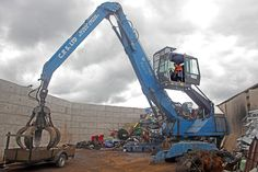 Huge Grab crane, used for handling scrap metal at Court recycling in Malvern, Worcestershire.