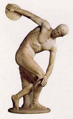 This is a sculpture from the Classical period in ancient Greece. It is a discus thrower and reflects the artistic feel of this period. Ancient Greek Art, Ancient Greece, Ancient History, Art History, Famous Greek Sculpture, Famous Sculptures, Discus Thrower, Greek Statues, Classical Period