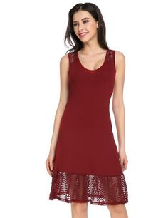 Red O-Neck Sleeveless Lace Solid Slim A-Line Dress