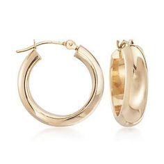 """Day to night, weekday into weekend, complete any look with these small classic hoops. Polished 14kt yellow gold shines beautifully on the ear. Hanging length is 5/8"""". Snap-bar, 14kt yellow gold earrings. Free shipping & easy 30-day returns. Fabulous jewelry. Great prices. Since 1952."""